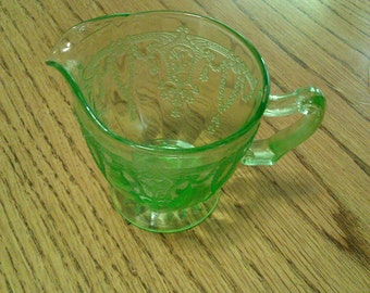 Green depression glass creamer Ballerina cameo
