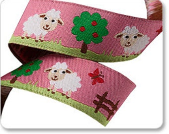 White Lambs on Pink Ribbon - 1 Yard - Sheep Ribbon - Renaissance Ribbons - Pink Lamb Ribbon