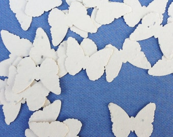 Cream Butterfly Shaped Plantable Seed Paper Confetti, Wildflower Seed, Recycled Paper  - 100 Pack