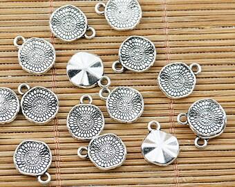 70pcs tibetan silver nice flower charm pendants EF1318