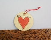 Winged heart ornament, ceramic wall tile of red heart with wings, round tile of red heart with wings, Greek pottery Valentines heart