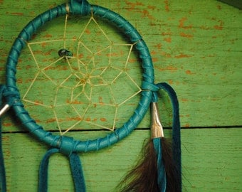 Sale TURQUOISE Native American Made beautiful vintage dream catcher feather turquoise stone dream catcher signed MADE In AMERICA vintage