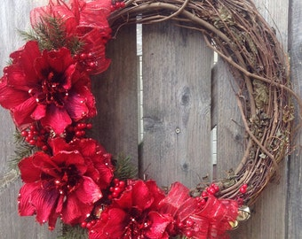 Vine wreath. Holiday wreath. Christmas wreath. Winter wreath. Monogram wreath. Red wreath.