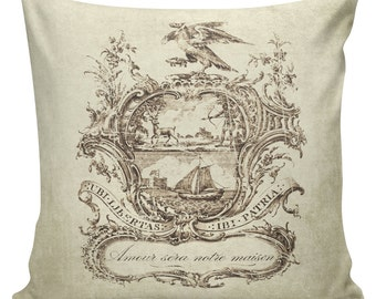 Pillow Paris French Country Illustrated Plate with Love Will Be Our Home Burlap Cotton Throw Pillow Cover FR-126