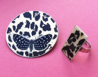 Jewelry Set brooch & Ring - butterfly brooch - adjustable ring - paper