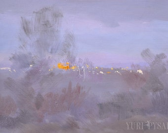 Abstract painting canvas winter artwork, Landscape oil painting, Lilac artwork original canvas painting snowy by Yuri Pysar