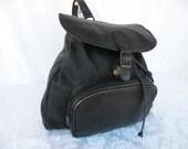 Vintage Black Leather Backpack Rucksack Knapsack Unisex