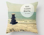 Cairn Throw Pillow Case, Beautiful Peace - by RDelean - Photography, Home Decor, Nature, Stacking Stones, Typography