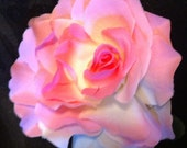 Burlesque Pin Up Rose Hair Accessory Clip Light Pink