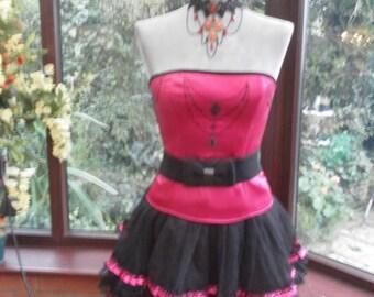 Halloween xmas satin lycra corset /skirt steampunk fairy burlesque victorian edwardian style satin corset frilled satin bustle skirt