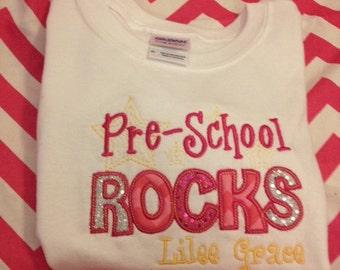 Pre School Rocks Personalized T-Shirt