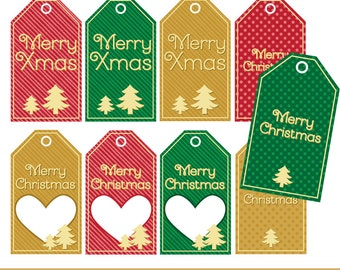Special Price - Instant Download - Christmas / Xmas Tags - DIY - Red, Green, Gold