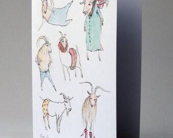 whimsical goats illustration, cártaí gaeilge, goats greeting card, cárta gabhar