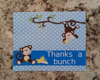 Printable Monkey Thank you Cards- Blue