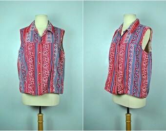 Vintage Vivaldi Red and Blue Vest, Vivaldi Jeanswear Vest,