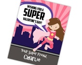 Superhero Valentine Card - Pink Stripe City, You Pick Superhero, Purple Superhero Personalized Valentines Day Cards - Digital Printable File