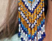 large seed bead earrings, native american earrings, dangling earrings, indian jewelry, native american jewelry