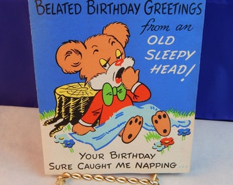 1950's Bear Moveable Birthday Card - Saw Sawing Logs Inside - Original Envelope