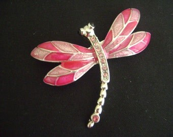 Beautiful Red and Pink Dragonfly with Rhinestones Brooch