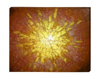 Signed Pre-Stretched PRINT On CANVAS of Original Gold Silver Copper Metallic Textured Painting - Metallic Vision - Customer Chooses Size