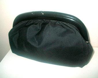 Lucite Frame Clutch Bag Handbag Black Grosgrain Fabric