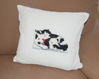 Ready to ship,white pillow,handmade, cross stitch,cat and dog,white and black,sweet, decoration, house,ornament, home, gift, made in Italy