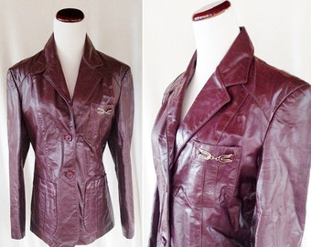 Vintage Maroon Stylish Leather Jacket. Medium
