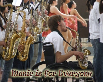 art inspirational card photo print Music is for Everyone motivational - fundraiser - imageB5297 PERSONALIZED TEXT Available cerebral palsy