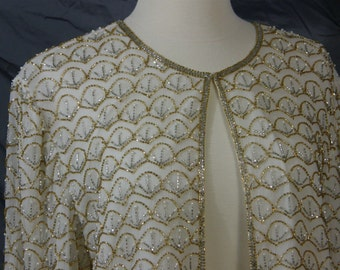 Vintage elegant silk and beaded jacket by Scala sparkle and shine for New Years Prom  Wedding or party time