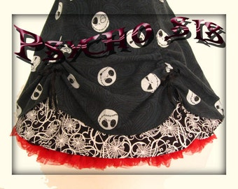 Nightmare Before Christmas Jack Skellington. Steampunk Bespoke Rockabilly/Psychobilly 50s Tim Burton Skirt.