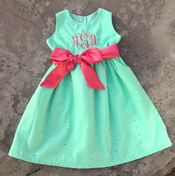 Baby Girls Dress Monogrammed Mint Green and Coral ON by