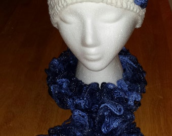 2 toned ruffle scarf and hat set