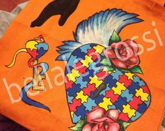 Hand Painted Autism tote
