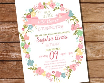 Wild Flower Party Invitation - Floral Invitation - Wildflower Invitation - Instant Download and Edit File at home with Adobe Reader