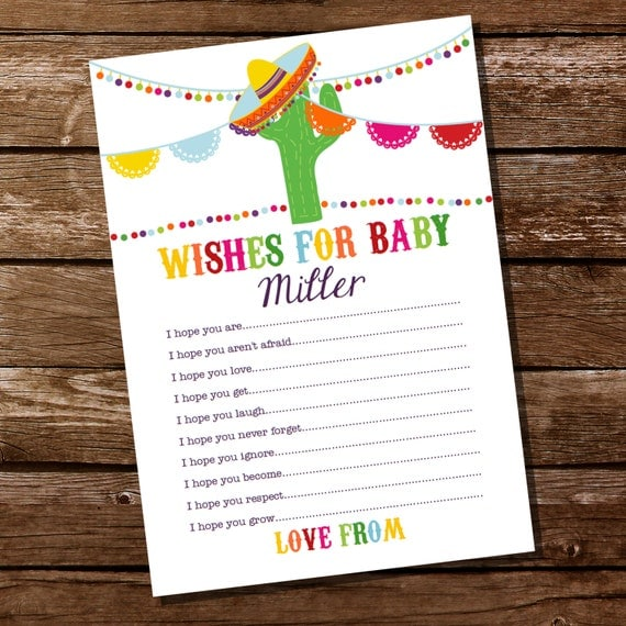 mexican fiesta baby shower party game fiesta wishes for baby card