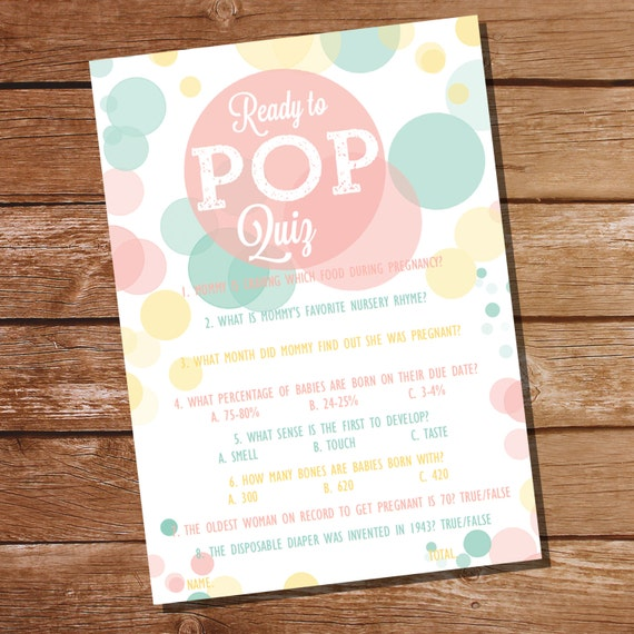 ready to pop baby shower pop quiz baby shower game unisex baby