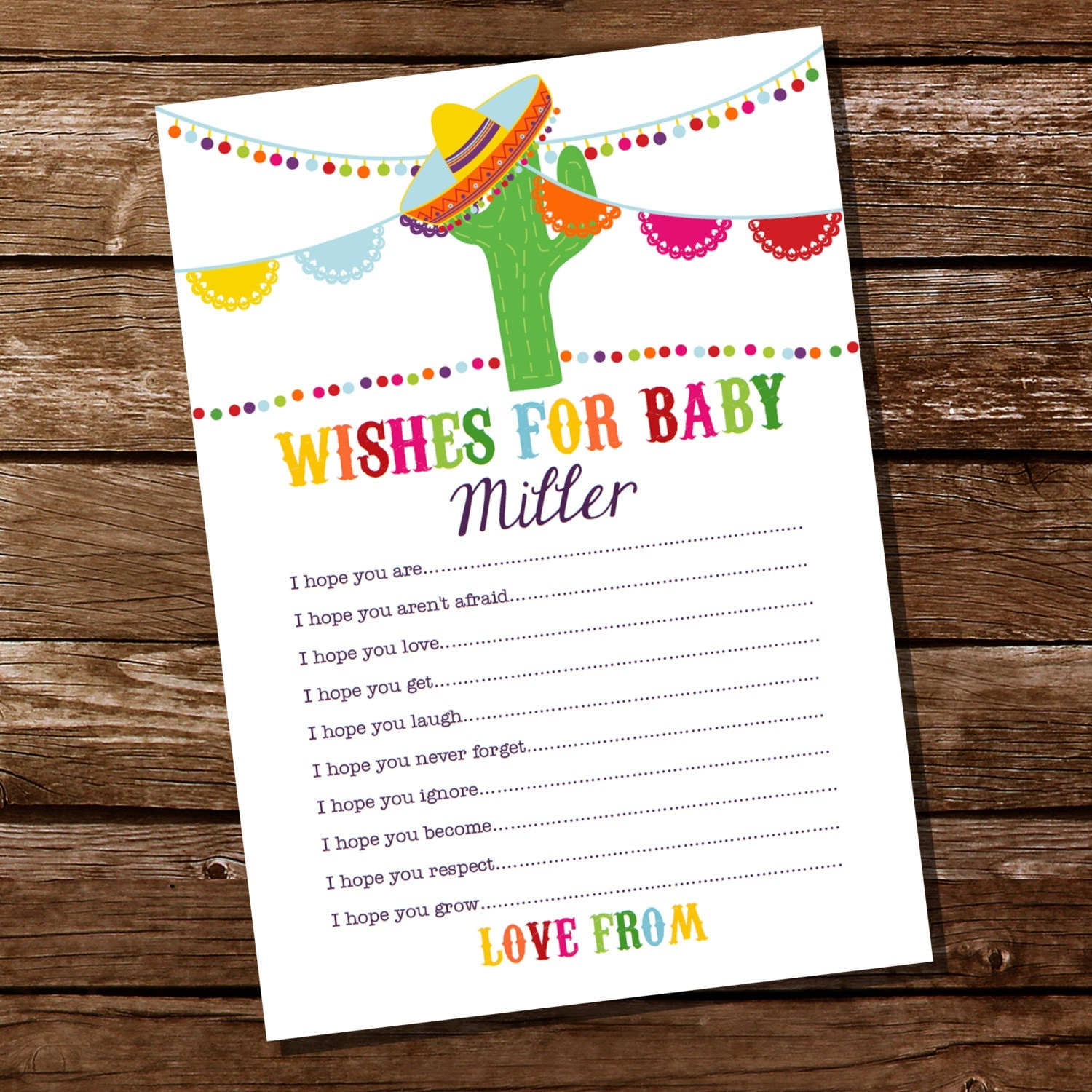 Mexican Fiesta Baby Shower Party Game Fiesta Wishes For
