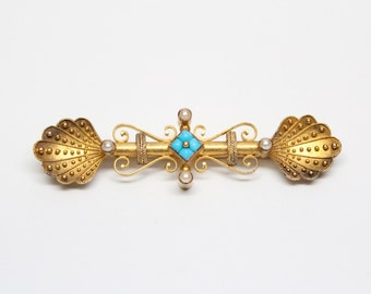Victorian 14k Etruscan Revival Bar Pin with Seed Pearls and Persian Turquoise