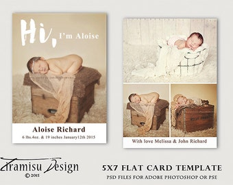 5x7 Birth Announcement flat card , Photography Templates, sku 27-7