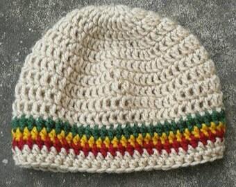 Children's Rastafari Tam Crochet Hat with red gold green Ages 1-4