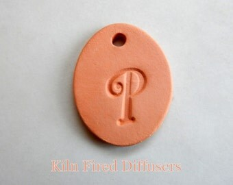 Diffuser Clay, Letter P, Alphabet Pendant, Monogram Necklace, Aromatherapy Essential Oil Diffuser,  DIY Necklace