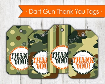 Dart Gun and Camo Thank You Tags- Instant Download