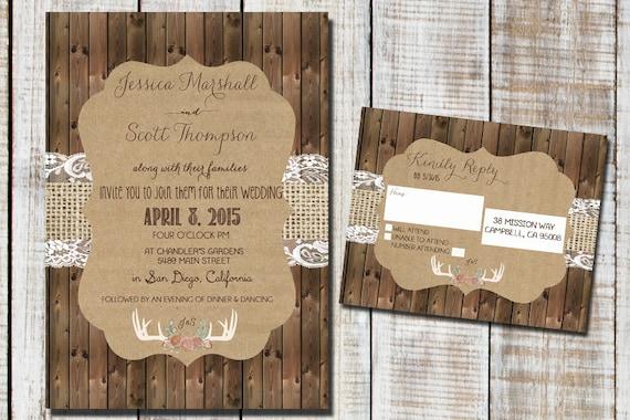 Rustikale hochzeitseinladung mit sackleinen von rockstarpress for Hochzeitseinladung holz