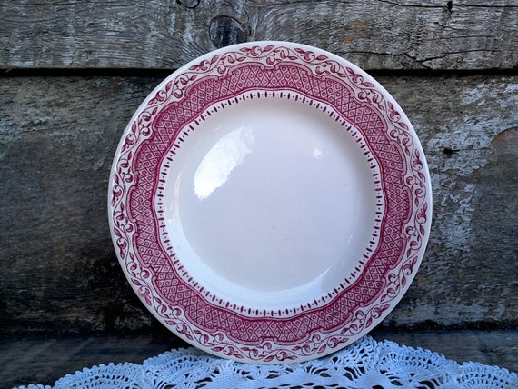 "RED TRANSFERWARE IRONSTONE Plate, Red Side Plate, ""Old English Ironstone"", 7 5/8"", England, English Transferware, Serving, Red Transferware"