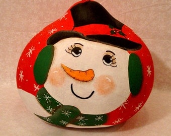 Snowman Head Gourd, X-Large, Red Background, Handpainted (SN440)