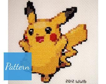 Pikachu (Pokemon) Cross Stitch Pattern
