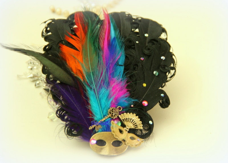 Mardi Gras Glam masquerade mask headpiece Mardi Gras wedding - photo#32