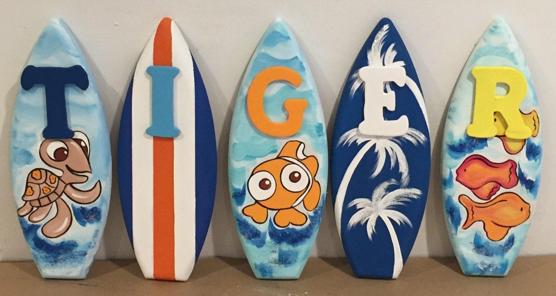 1ft wood kids surfboard name letter alphabet decorative for Surfboard craft for kids