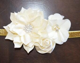 Christmas Poinsettia Flower Headband Baby Toddler Headband Flower Girl New Years Ivory Gold Gitter