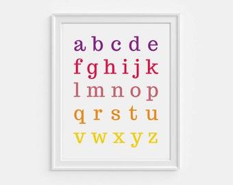 Educational abc chart - printable alphabet letters - preschool learning print - playroom decor